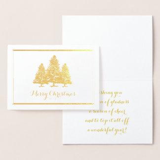 Gold Foil Christmas Trees Merry Christmas Card