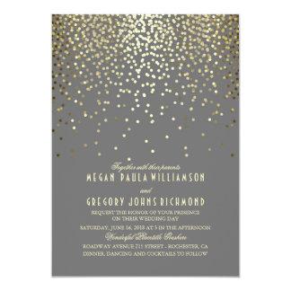 Gold Foil Confetti Art Deco Wedding 13 Cm X 18 Cm Invitation Card