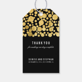 Gold Foil Confetti Black Wedding Gift Tags