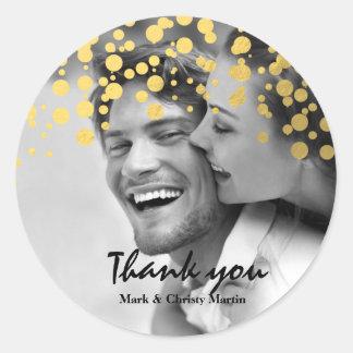 Gold Foil Confetti Custom Photo Favor Sticker