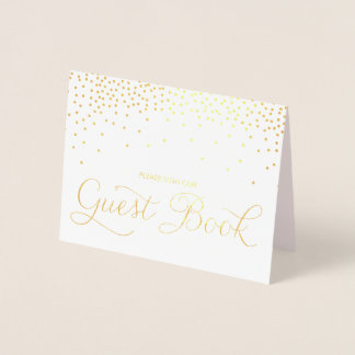 Gold Foil Confetti Dots Guest Book Wedding Sign Foil Card