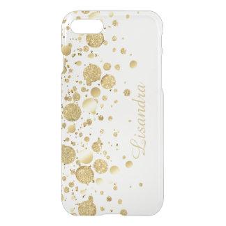 Gold Foil Confetti On White iPhone 8/7 Case