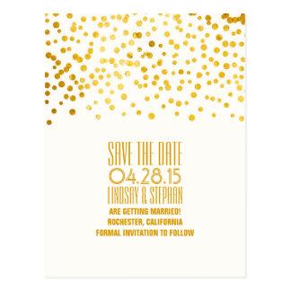 gold foil confetti romantic save the date postcard