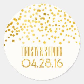 Gold Foil Confetti Wedding Classic Round Sticker