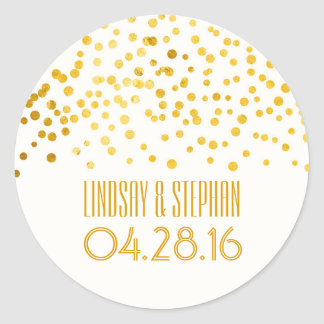 Gold Foil Confetti Wedding Round Sticker