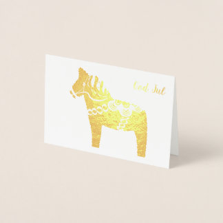 Gold Foil Dala Horse God Jul Greeting Card
