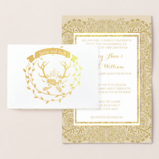 Gold Foil Deer Antler Wreath Wedding Invitations