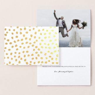 Gold Foil Dots Thank You Wedding Card