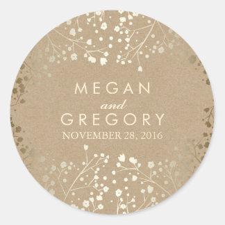 Gold Foil Effect Baby's Breath Kraft Wedding Classic Round Sticker