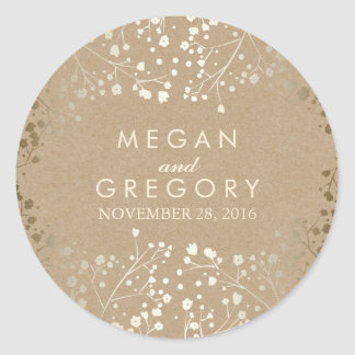 Gold Foil Effect Baby's Breath Kraft Wedding Round Sticker