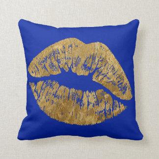 Gold Foil Effect Kiss Throw Pillow