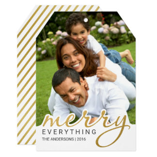 Gold Foil Effect Merry Hand Script Holiday Photo 13 Cm X 18 Cm Invitation Card