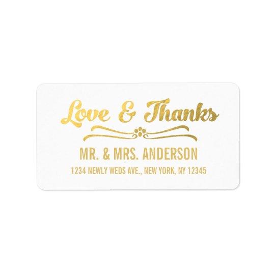 Gold Foil Elegant Wedding Thank You Address Label