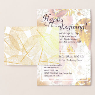 Gold Foil Fall Leaves & Thanksgiving Invitation