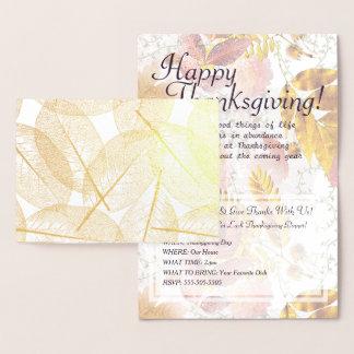 Gold Foil Fall Leaves & Thanksgiving Invitation