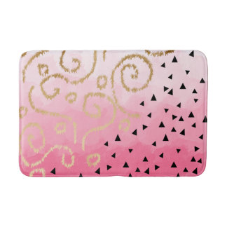 gold foil geometric pattern rose pink brushstrokes bath mat