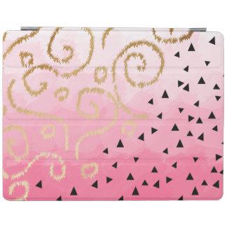 gold foil geometric pattern rose pink brushstrokes iPad cover