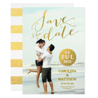 Gold Foil Glamor | Photo Save the Date Card 13 Cm X 18 Cm Invitation Card
