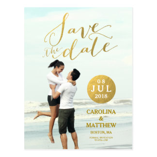 Gold Foil Glamor | Photo Save the Date Postcard