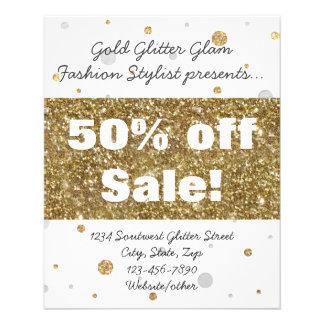 Gold Foil Glitter Confetti Salon/Advertisement 11.5 Cm X 14 Cm Flyer