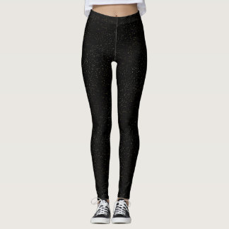 Gold Foil Glitter Flecks Look on Black Leggings