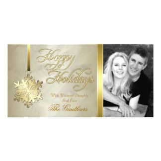 Gold Foil Gold Snowflake Holiday Photo Card