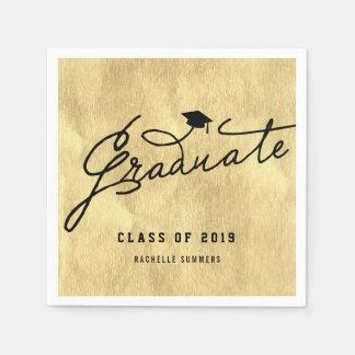 Gold Foil Graduate Graduation Party Paper Napkin