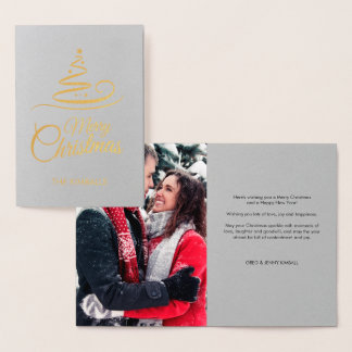 Gold Foil Grey Photo Stripes Merry Christmas Foil Card