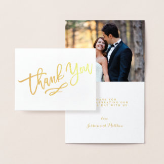 Gold Foil Hand Lettered Wedding Thank You Photo Foil Card