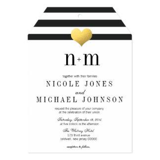 Gold Foil Heart + Stripes Wedding Invitations