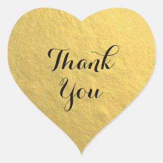 Gold Foil Heart Thank You Sticker