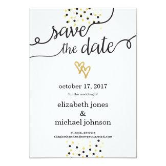 Gold Foil Hearts and Confetti Save the Date 13 Cm X 18 Cm Invitation Card
