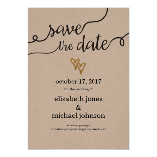 Gold Foil Hearts Kraft Paper Save the Date Card