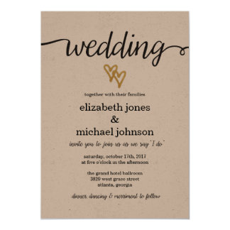 Gold Foil Hearts Kraft Paper Wedding Invitation