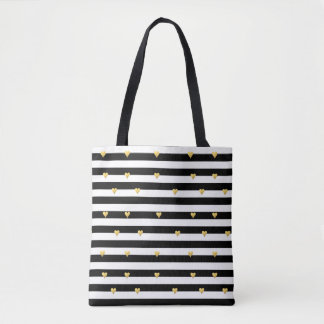 Gold Foil Hearts & Stripes All Over Print Tote Bag