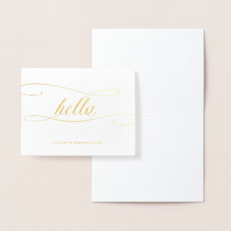 Gold Foil Hello Calligraphy Personal Stationery Foil Card