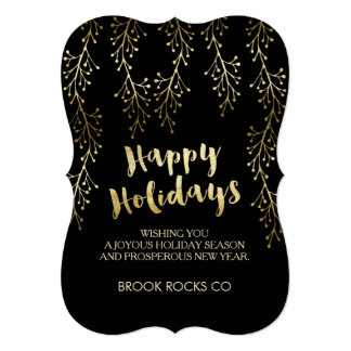 Gold Foil Image Happy Holidays Company Cards 13 Cm X 18 Cm Invitation Card