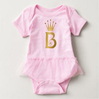 Gold Foil Initial B Letter Monogram Baby Pink Tutu Baby Bodysuit