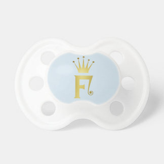 Gold Foil Initial F Letter Monogram Baby Pacifier