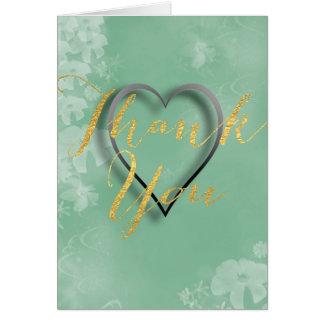 Gold Foil Lettering on Aqua Green Floral Backdrop Greeting Card