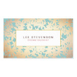 Gold Foil Look and Turquoise Floral Pattern Business Cards