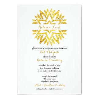 Gold Foil Look Star Mandala Bat Mitzvah Card