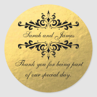 Gold Foil Look Wedding Favor Thank You Label Round Sticker