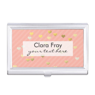 gold foil love hearts pattern, pastel pink stripes case for business cards
