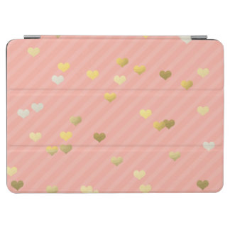 gold foil love hearts pattern, pastel pink stripes iPad air cover