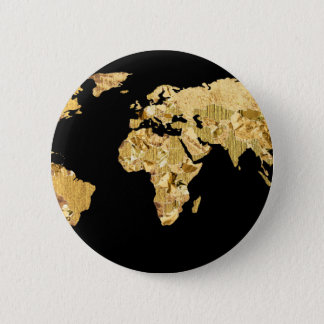Gold Foil Map 6 Cm Round Badge