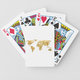 Gold Foil Map Bicycle Playing Cards