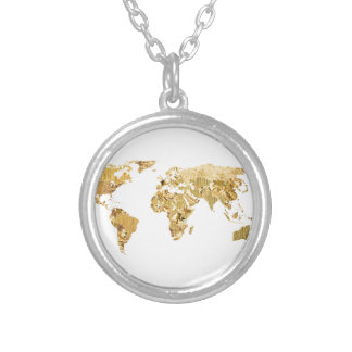 Gold Foil Map Silver Plated Necklace
