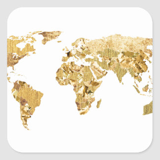Gold Foil Map Square Sticker