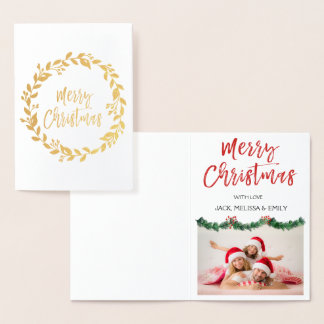 Gold Foil Merry Christmas Garland Photo Card